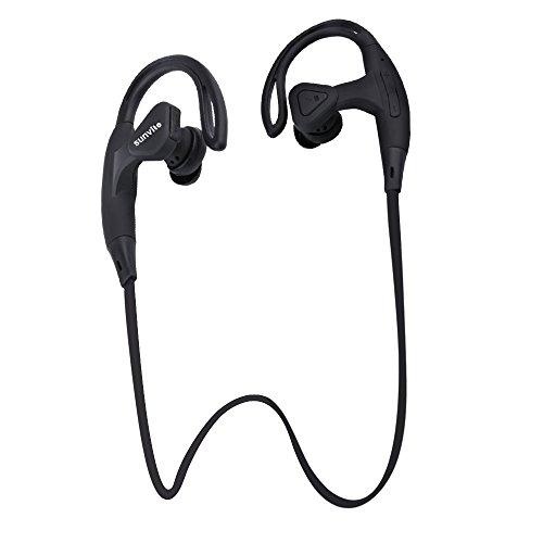 Sunvito Mini Sport leggero/cuffia stereo Bluetooth 4.0 Secure Fit auricolari senza fili (CVC Noice Cancelling, microfono per vivavoce, Stereo) (Nero)