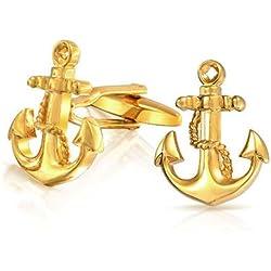 Bling Jewelry Chapado en oro joyas Bling Mens Vintage ancla náutica gemelos Set