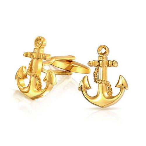 Bling Jewelry Nautisch Anker-Seil Bootsfahrer Sailor Shirt Manschettenknöpfe Für Herren Scharnier Zurück Vergoldetem Messing Stahl