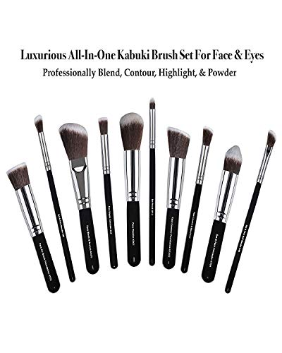 75% SALE! Professional Kabuki Makeup Brush Set By Artist Malika Jafrin ❃ Premium 10 Piece Kit for Your Cosmetic Needs (Face & Eye) ❃ Brushes for Foundation (Cream, Powder, & Mineral), Blush, Concealer, Bronzer & More