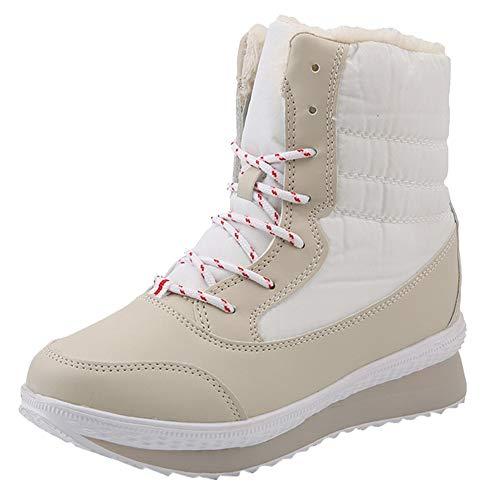 (MYMYG Frauen Stiefeletten Winter Schnee Stiefel Frauen Winter Warm halten Schuhe Mitte der Wade Plateaustiefel Winter Boots Warm Gefüttert Chelsea Boots Freizeitschuhe)