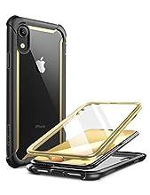 i-Blason Coque iPhone XR, Coque Intégrale Anti-Choc Bumper avec Dos Transparent et Protecteur d'écran Intégré [Série Ares] pour Apple iPhone XR 6,1 pouces 2018 (Or)