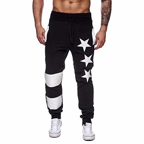 Hosen Herren Baggy,Dragon868 Männer Casual Jogger Dance Sportwear Hosen Slacks Sweatpant (Schwarz, L) (Schwarzes Leinen Gefüttert-hose)
