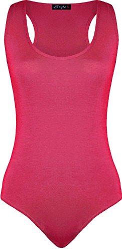 Ärmellos Muskelshirt Racer Damen Bodysuit Tanz Vest Top - Cerise - Plain Basic Muscle Back Bodyhug Party