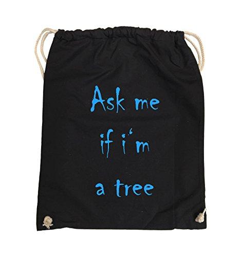 Comedy Bags - Ask me if i'm a tree - Turnbeutel - 37x46cm - Farbe: Schwarz / Silber Schwarz / Blau