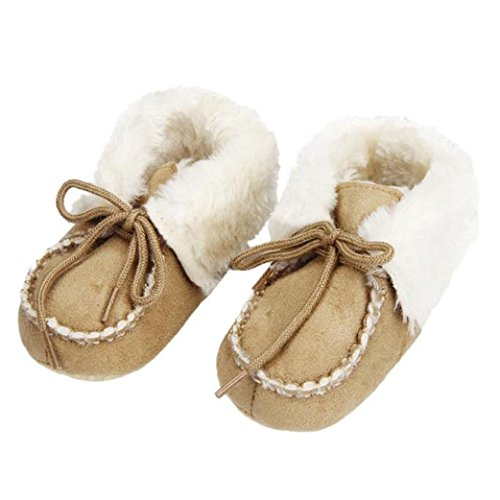 Ouneed® Krabbelschuhe , 0-18 Monate Baby weiche Sohle Krippe Warm Knopf Wohnungen Cotton Boot Khaki
