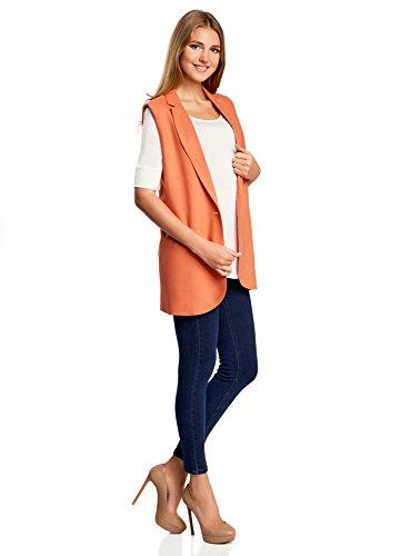 oodji Collection Damen Gerade Geschnittene Leinen-Weste Orange (5900N)