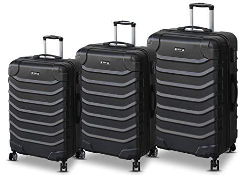 ORMI Set 3 Trolley Con 8 RUOTE Autonome in ABS Rigido Con Bagaglio a Mano Mod.: 2026 (Nero)
