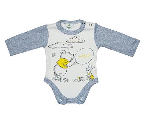 ngen BABY-BODY aus Baumwolle, Spiel-Anzug mit Druck-Knöpfen, EINTEILER lang-arm mit Winnie Pooh Motiv in grau, rosa oder blau, GRÖSSE 56, 62, 68, 74, 80, 86 Farbe Blau, Größe 74 (Winnie The Pooh Jungen Oder Mädchen)