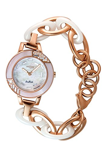 Moog Paris Seashell Women's Watch with White Dial, Rose Gold Stainless Steel & Ceramic Strap & Swarovski Elements - M45074-103