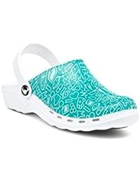 Calzado zueco profesional modelo Oden Syster, diseño con motivos sanitarios