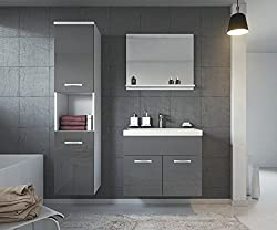 Badplaats Bathroom cabinet Montreal 60cm basin - Storage cabinet vanity unit sink furniture (White Grey)