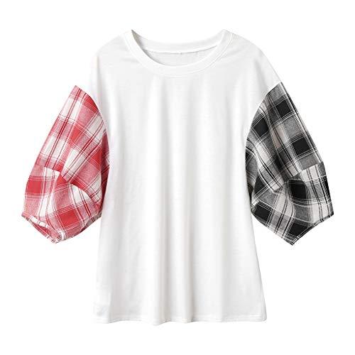 CANDLLY Damen T-Shirt, Mode Sommer Kurzarm Hemd Bluse Elegant O Hals Plaid T-Shirts Tunika Strand Lässige Oberteile Top Blusen Weiß(Weiß,M)