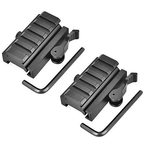 OTraki Keymod Rail 5 Slot Weaver Montageerhöhung Keymod Picatinny Erhöhung Verstärkte Aluminiumlegierung 20mm Adapter Gewehr Scope Basis Picatinny Schiene QD Riser 2 Stücke EINWEG (Gewehr-schiene)