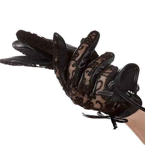 Agelec Spitze Handschuhe Damen dünne Elegante und Elegante Schaffellhandschuhe Herbst und Sommer Sonne Fahren Lederhandschuh Fahren (Größe : S)