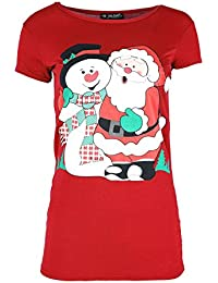 94750b0467 Oops Outlet Womens Santa Rudolph Reindeer Party T Shirt Ladies Christmas  Xmas Cap Sleeve Jersey Top