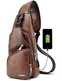 Pawaca, borsa a tracolla da uomo, marsupio in similpelle, ideale per uso all'aperto, con porta USB, zainetto da uomo per viaggi, affari e passeggiate Light brown