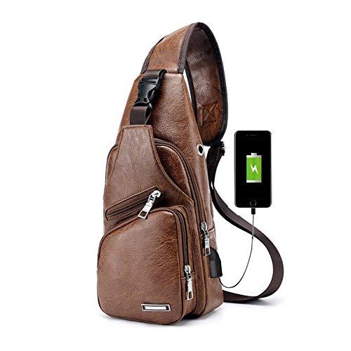 Pawaca Herren Sling Schultertasche, PU-Leder Outdoor-Brusttasche mit USB-Port Casual Umhängetasche Satchel Rucksack für Herren Business, Wandern, Reisen