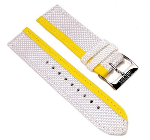Esprit Uhrenarmband Textil/Leder Band 20mm weiß mit gelbem Streifen für ES102402006
