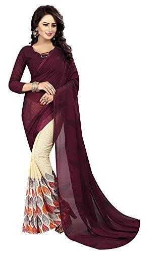 RR Crafts&CreationsWeiche Georgette Crepe Blend Saree mit Blusenstück, indische Bollywood-Stil, Party tragen Saree,Weiche Georgette-Crepe-Mischung mit Bluse (Mehrfarben) Crepe Saree
