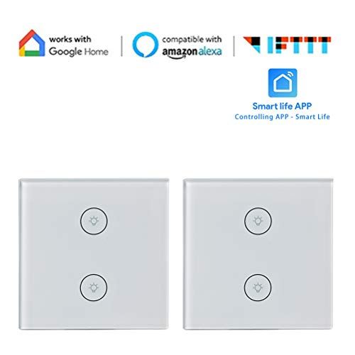 WiFi Lichtschalter In-Wall Smart Switch Lichtschalter für LED Halogen Glühlampen Kompatibel mit Alexa Google Home IFTTT Timer Countdown Wifi Fernbedienung VHFIStj