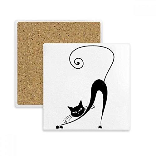 at Stretch Halloween-Tier-Kunst-Silhouette-Quadrat-Untersetzer-Schalen-Becher-Halter Absorbent Stein für Getränke 2ST Geschenk Mehrfarbig ()