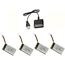 Time4Deals® 4pcs 3.7V 1200mAh batería y cargador de 1 a 4 para el quadcopter de X5sc X5sw RC syma drone repuestos