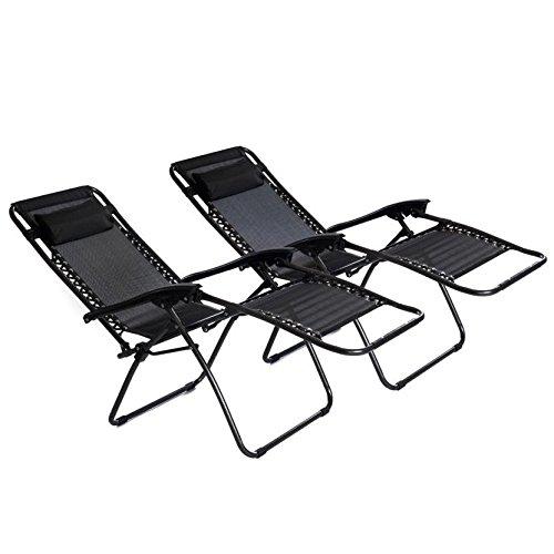 2x Oypla pieghevole reclinabile da giardino Sedia a sdraio Sdraio da spiaggia Zero Gravity