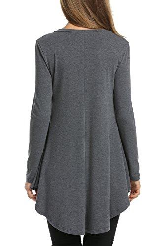 HOTOUCH Damen Tunika Schlupfbluse Longbluse Blusenshirt Gefummelt Kleid V-Ausschnitt Langarmshirt Casual Weich Stretch A Linie Typ1-Grau