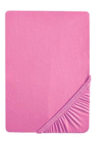 biberna 77144 Jersey-Stretch Spannbetttuch, nach Öko-Tex Standard 100, ca. 90 x 190 cm bis 100 x 200 cm, pink