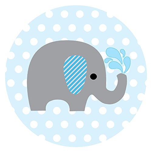 Adorebynat Party Decorations - EU Elefante del bebé pegatinas para la ducha del bebé y en favor del cumpleaños etiquetas de lunares - Set 50