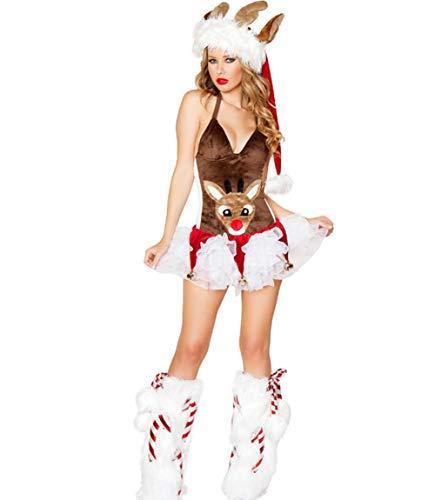 Frau Rentier Kostüm Kleid Sexy Erwachsene Weihnachts Outfit Cosplay,Brown,L