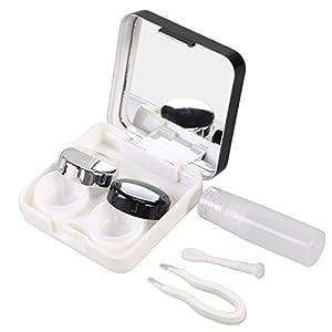ROSENICE Reise Kontaktlinsenbehälter Rose Design Kontaktlinsen Aufbewahrungsbox mit Spiegel für Haus und Reise (Schwarz)