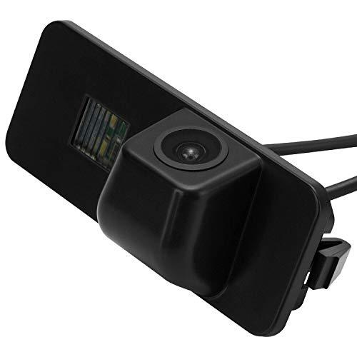 Rückfahrkamera Wasserdicht Nachtsicht Auto Rückansicht Kamera Einparkhilfe, Kennzeichenleuchte (Schwarz) für VW Golf 5 Vriant Scirocco EOS Lupo Passat CC Polo(2 Cage) Phaeton Beetle SEAT Variant