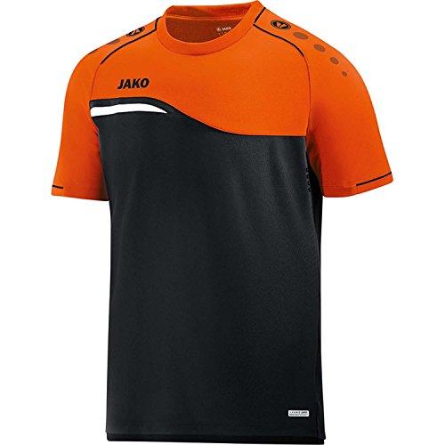 JAKO Herren T-Shirt Competition 2.0, schwarz/Neonorange, XL