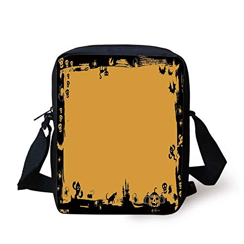 ework Borders with Halloween Icons Cats Bats Skulls Ghosts Spiders Decorative,Yellow Black Print Kids Crossbody Messenger Bag Purse ()