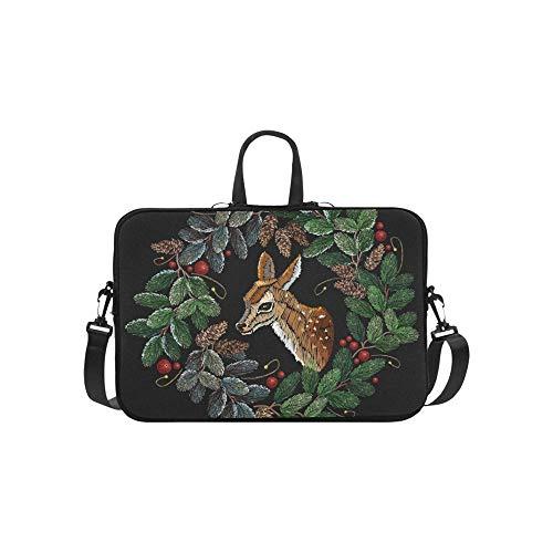 Stickerei Weihnachtsbaum Kranz Hirsch Kleidung Muster Aktentasche Laptoptasche Messenger Schulter Arbeitstasche Crossbody Handtasche Für Geschäftsreisen -