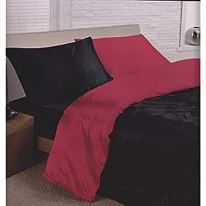 parure de lit satin noir rouge 6 pcs drap housse de couette reversible 220 x 240 cm. Black Bedroom Furniture Sets. Home Design Ideas