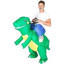 Disfraz Hinchable Jinete a hombros de Raptor para adultos
