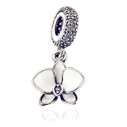 Cooltaste estate bianco orchidea appeso fiore pendente perline fai da te adatto per originale pandora charm in argento 925bracciali moda gioielli