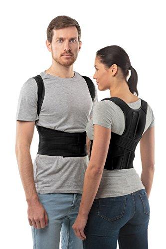 Corrector de postura cinturón de soporte de espalda de aHeal - Faja para espalda ortopédica médica corrector de columna vertebral para debajo de la ropa para hombres y mujeres - Alivio del dolor de hombro, vértebra lumbar y pectoral inferior corrige la mala postura - Talla 4: 100-106 CM; 39-43', Negro