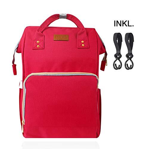 Lässige Wickeltasche inkl. Kinderwagen-Haken | Als Rucksack oder Kinderwagentasche
