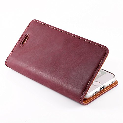 Apple iPhone 7 Plus 7+ (A1661, A1784) Premium Ledertasche Schutzhülle Wallet Case aus Nubukleder mit Kreditkarten / Notizen Fachern (Marineblau) von Surazo® Vintage Kollektion Burgund