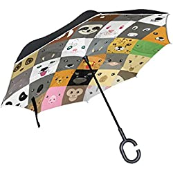 ALAZA Doble Capa invertido Paraguas Paraguas Coches inversa de Animales Lindos rostros Prueba Emoji a Prueba de Viento UV Viaje Paraguas al Aire Libre