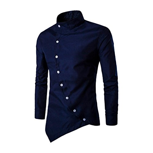 Yanhoo uomo camicia casuale in cotone a manica lunga colore solido, mens casual irregular silm fit long sleeve shirt blouse tops t-shirt (m, marina militare)
