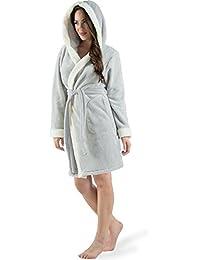 8149413831 Damen Bademantel mit Kapuze, flauschiger Sherpa Fleece, kurzer Sauna-mantel  für Wellness Spa, CelinaTex, Trend Morgenmantel Serie Kos…