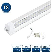 Lichtleiste mit 14 W Leuchtstoffr/öhre T8 G13 Tube milchige Abdeckung LEDVero 2x SMD LED R/öhre 90 cm inklusive Fassung in neutralwei/ß 1400lm- montagefertig