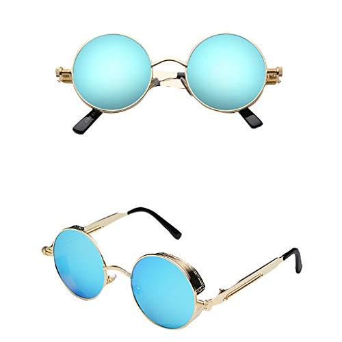 iCerber UV400 100% UV-Schutz Unisex-Sonnenbrille, klassische Steampunk-Wind-Retro-Sonnenbrille runder Outdoor-Sportreisesonnenbrille mit Brillen-Etui.