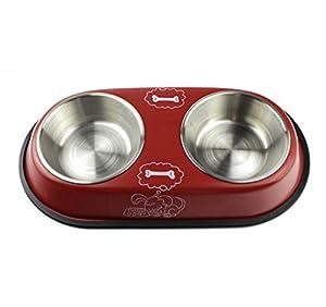 PET en acier inoxydable double bol, récipient d'eau de nourriture avec joint antidérapant en caoutchouc, chien de chat à l'intérieur d'alimentation