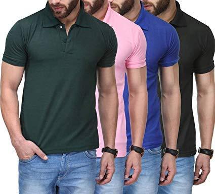 Generic Tnx Men's Soft Cotton T-shirts (Multicolour, XL) - Pack of 4